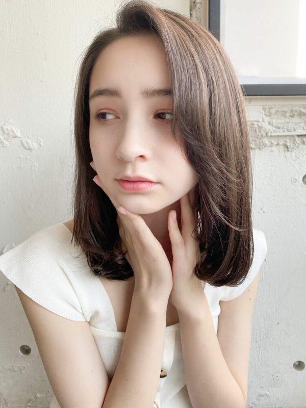 かき上げ前髪×内巻きワンカールパーマ
