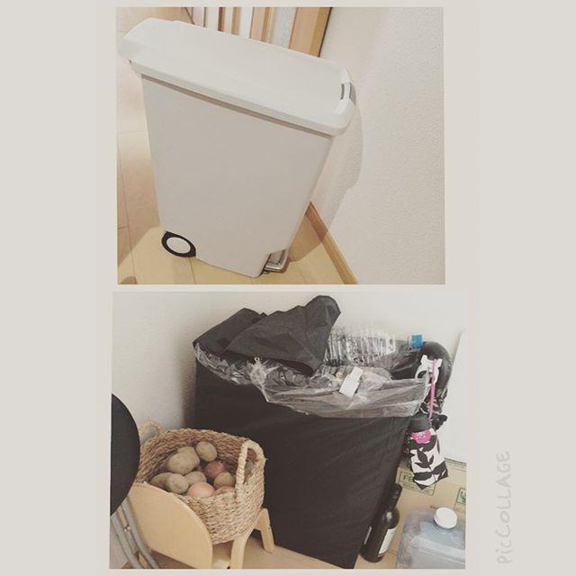 廊下にゴミ箱置き場を配置したアイデア