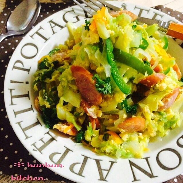 おすすめ料理!ふわふわキャベツと卵の炒め物