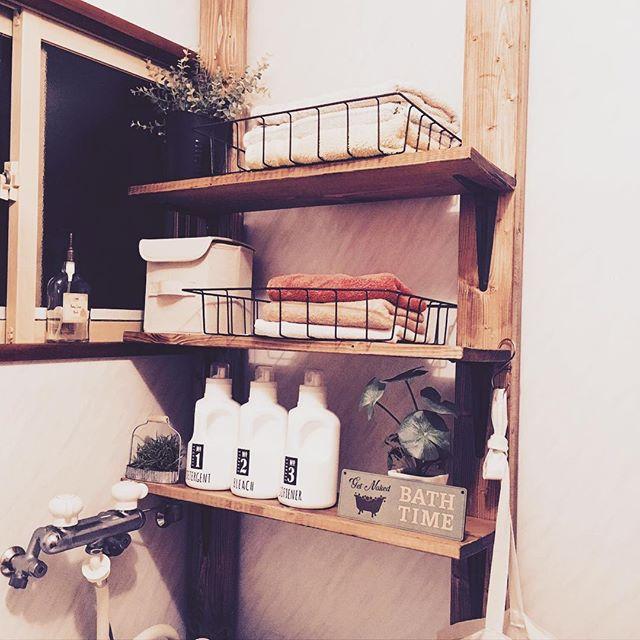 洗濯機の上の棚DIYアイデア3