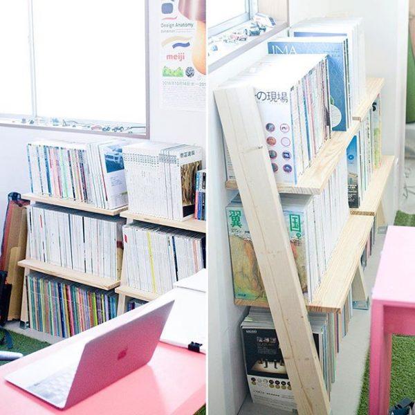 木材を連結した横長手作り本棚