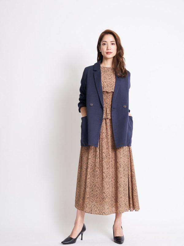 顔タイプフェミニンさんのジャケットファッション