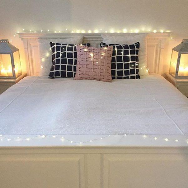 ベッド周りに間接照明を散りばめた置き方