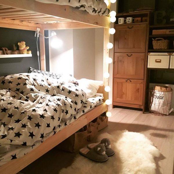 二段ベッドを置いた6畳の子供部屋