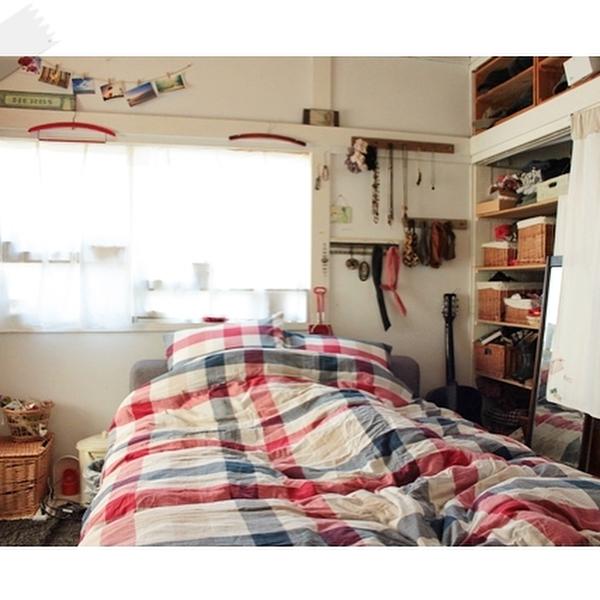 可愛いベッドカバーのインテリア実例