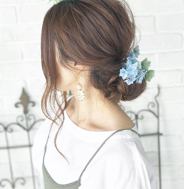 お団子×お花のヘアアクセ