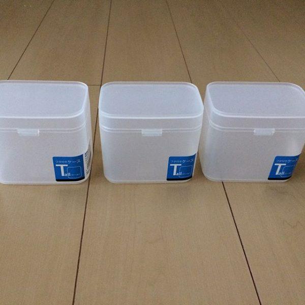 セリアの蓋付きケースを使った食器収納