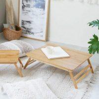 キャンプやピクニックにも使える♪折り畳み式の竹製「ローテーブル」