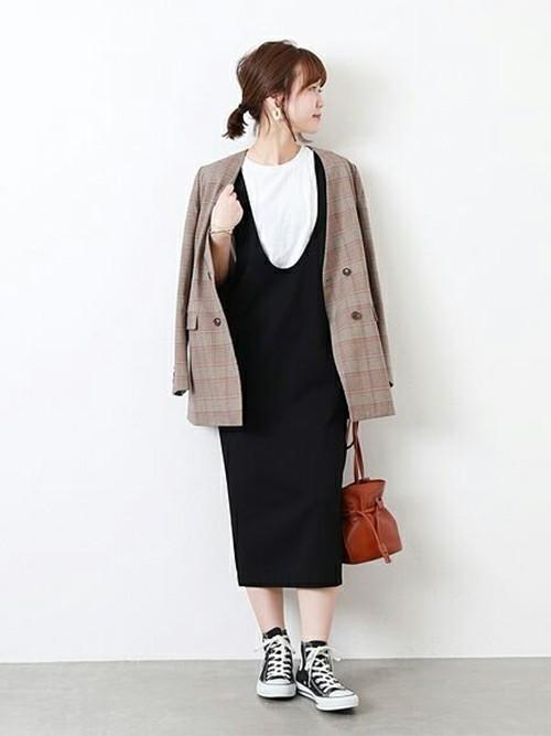黒ジャンパースカート×ジャケット