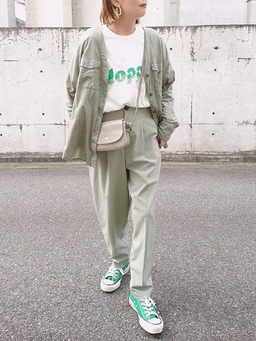 グリーンジャケット×パンツ