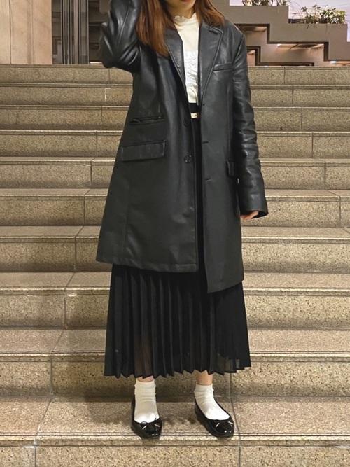 GUプリーツスカート×コート