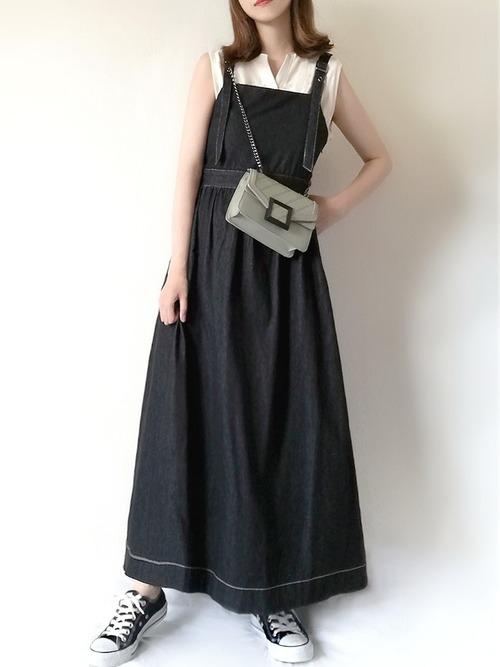 黒デニムジャンパースカート