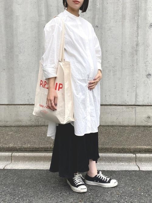 しまむら白シャツワンピース×スカート