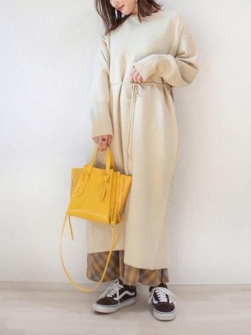 しまむらの黄色のチェック柄スカート