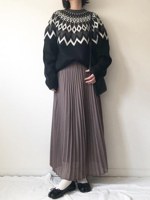 GUのノルディックセーター×プリーツスカート