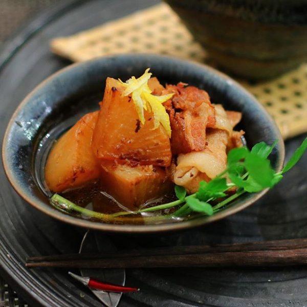 納豆献立に合う!豚バラと大根の煮物