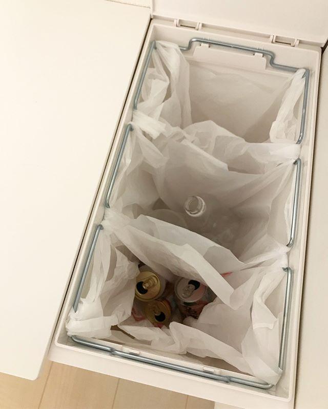 ゴミ箱をビニール袋で仕切って使うアイデア