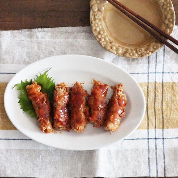 納豆は副菜で合う!えのきの甘辛肉巻き