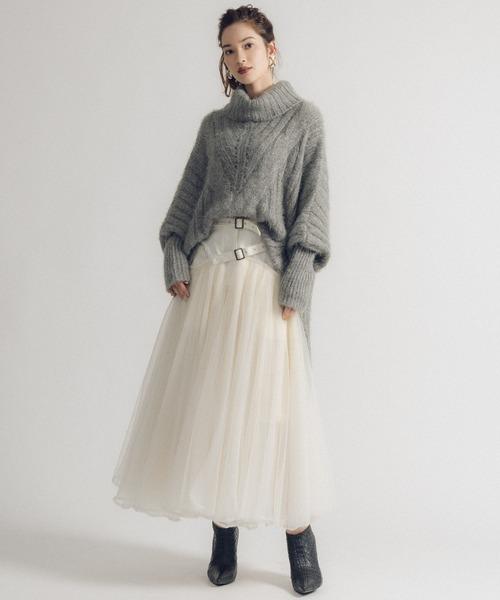 【LA BELLE ETUDE】【Belle vintage】ベルトデニムドッキングボリュームチュール×オーガンジースカート【低身長向けSサイズあり】