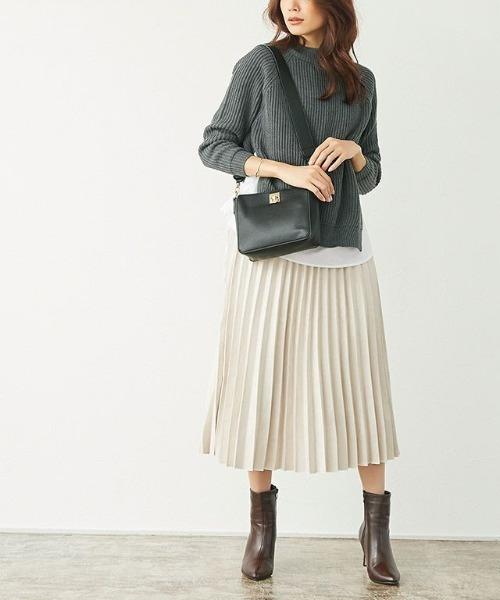 [Pierrot] スエードタッチプリーツスカート