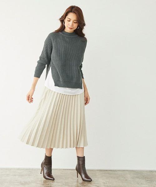Pierrot スエードタッチプリーツスカート