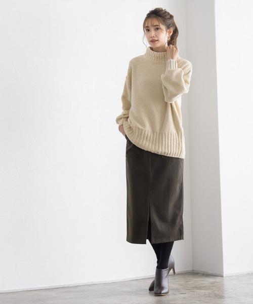 [Pierrot] ウールタッチフロントスリットタイトスカート