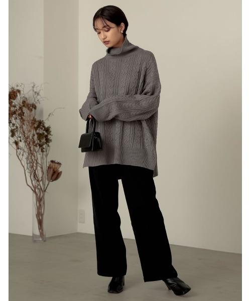 [近藤千尋さん着用][低身長向け/高身長向けサイズ対応]ツイルセンタータックスラックスパンツ