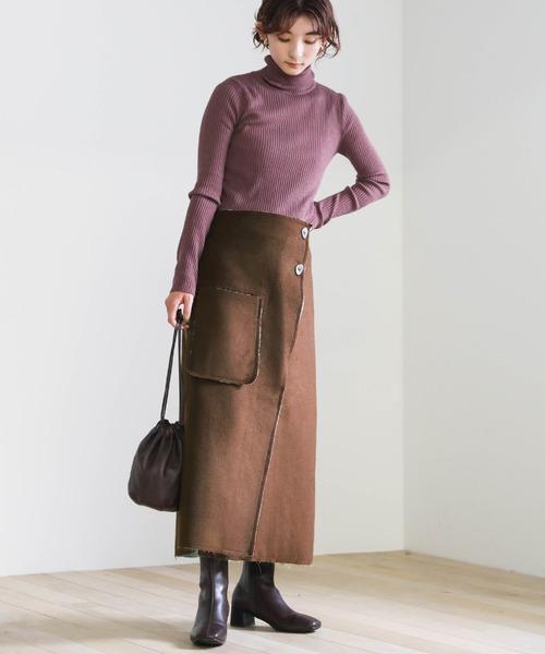 2020 A/W ラップタイトスカート/ボタンデザインスウェードタッチスカート/ポケットデザインスウェードタッチスカート