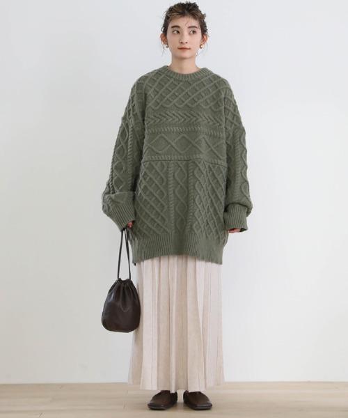[select MOCA] 2020 A/W ランダムプリーツニットスカート/ウエストゴムウールブレンドスカート4