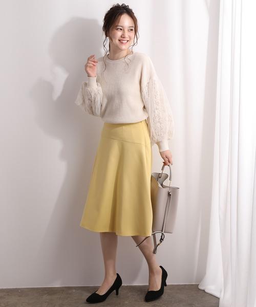 おしゃれニットトップス×フレアスカート