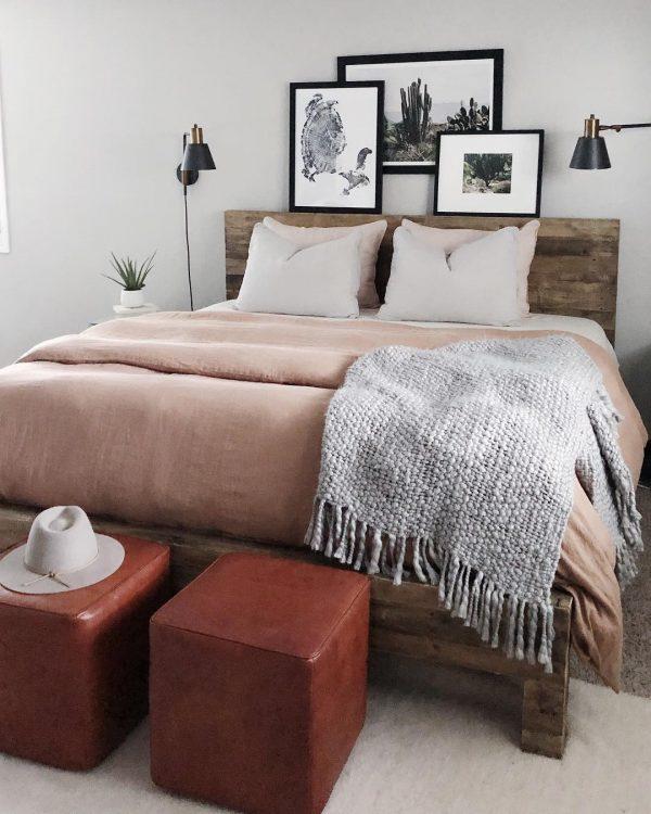 優しくナチュラルな色使いが落ち着く寝室
