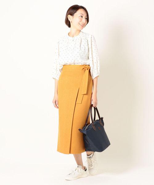 プリントトップス×おしゃれタイトスカート