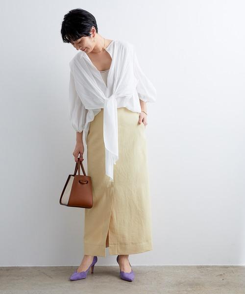 ADAM ET ROPE'] 配色ステッチマキシタイトスカート