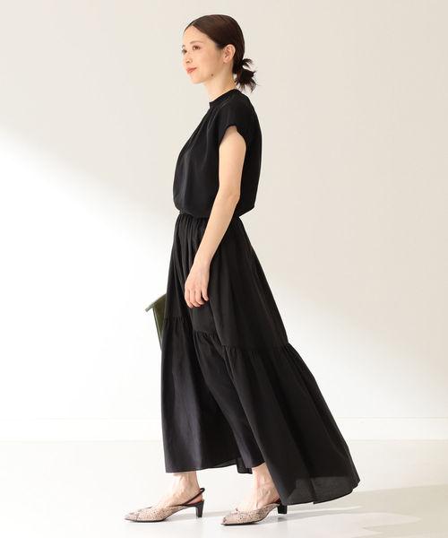 [BEAMS WOMEN] Demi-Luxe BEAMS / コットンシルク ギャザーロングスカート