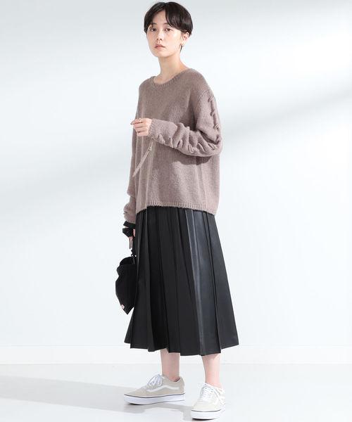 Ray BEAMS / フェイクレザー プリーツ スカート