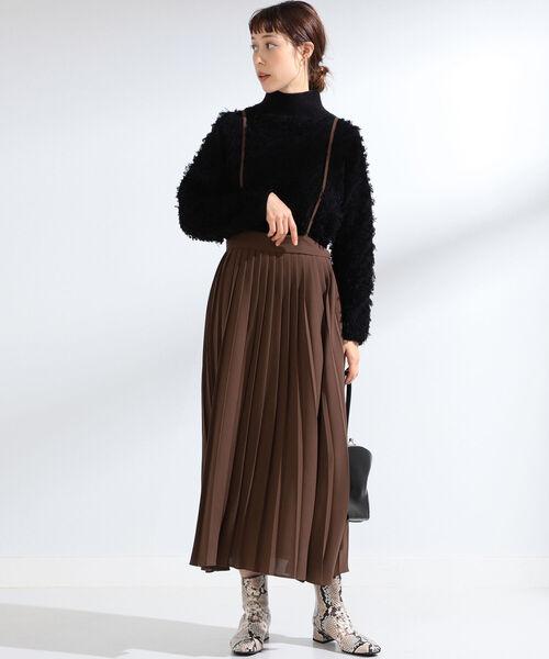 Ray BEAMS / サス付 プリーツ スカート