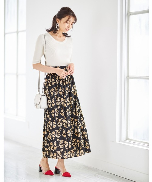 楊柳リーフフラワープリントスカート