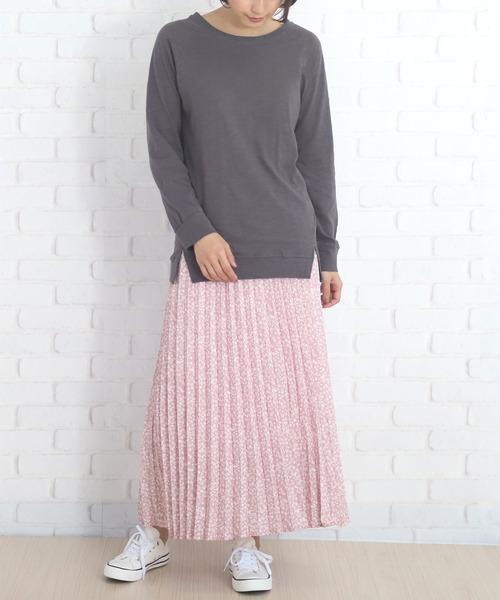 花柄ロングプリーツスカート
