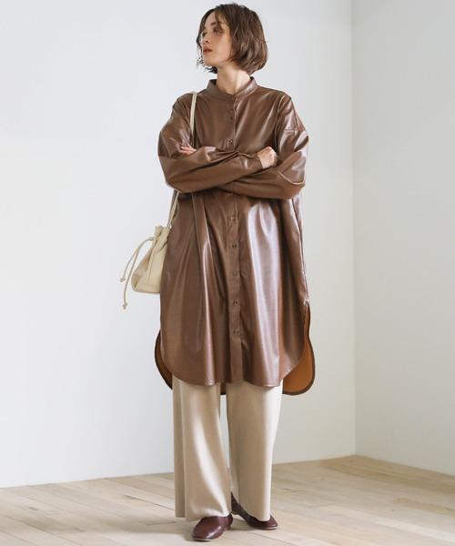 [select MOCA] 2020 A/Wフェイクレザーバンドカラーロングシャツ/スタンドカラービックシルエットエコレザーシャツ