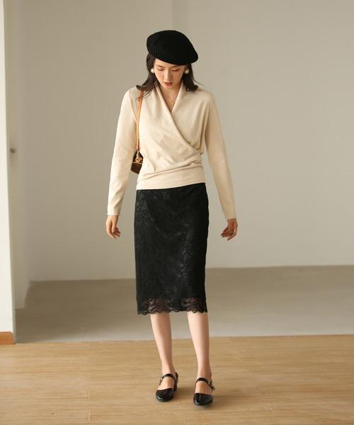 [SAISON DE PAPILLON] 総レースタイトスカート