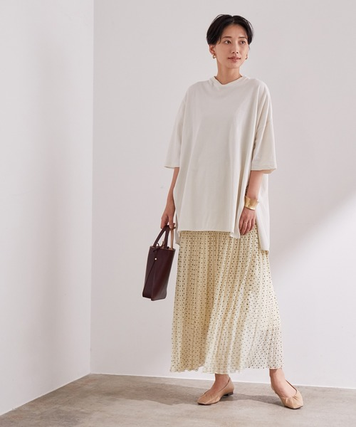 [ADAM ET ROPE'] カットジャガードドットプリーツスカート