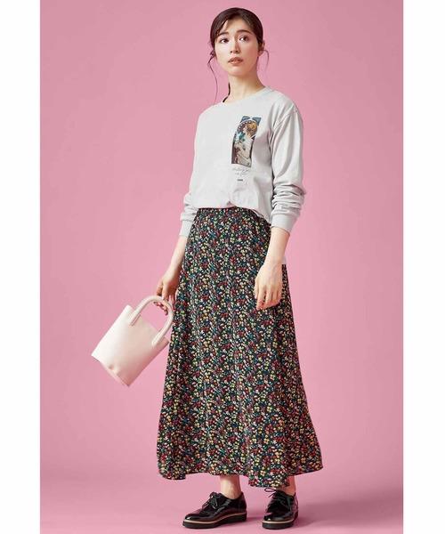 IEDIT ヴィンテージライクなプリントフレアースカート