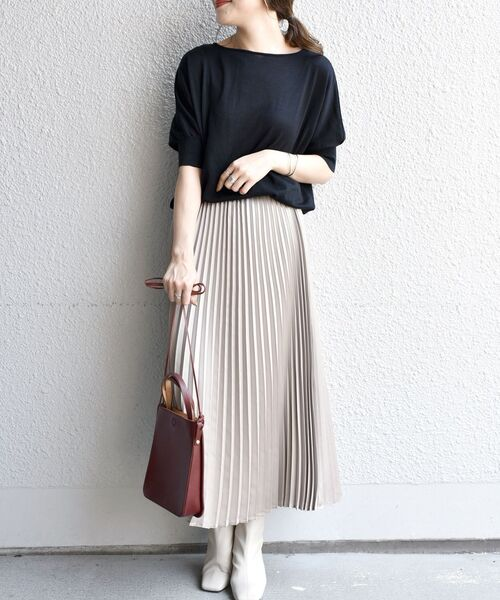 [SHIPS for women] カレンダリングプリーツスカート
