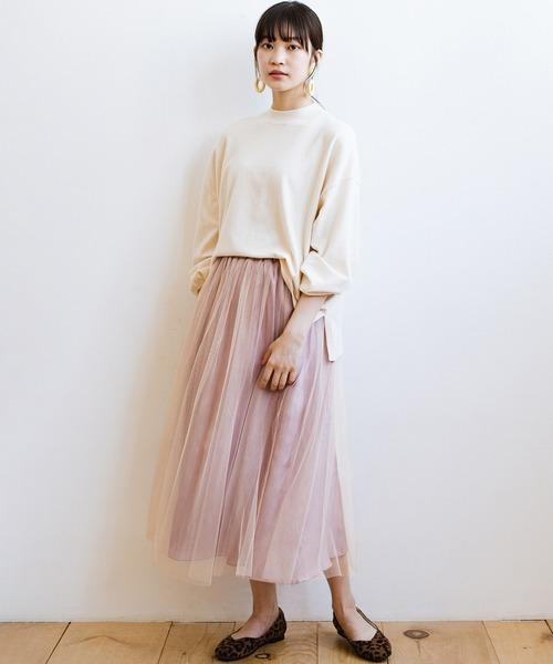 シンプルなトップス合わせだってかわいくなれちゃう シャイニーサテン&チュールの贅沢2枚仕立てスカート