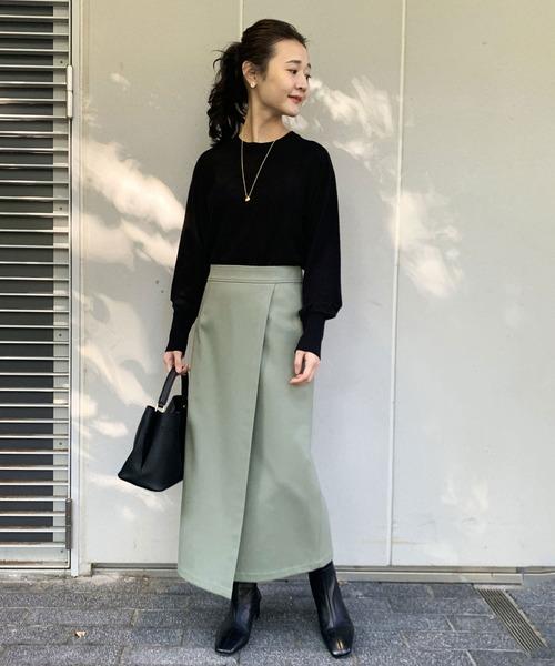 IENA] ウォッシャブルフラノラップスカート【手洗い可能】