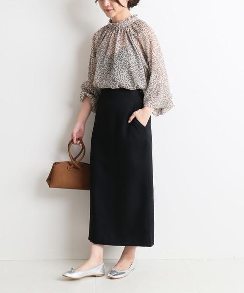 ウォッシャブルツイルタイトスカート【手洗い可能】◆