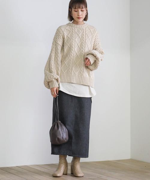 2020 A/W ツイードタイトスカート/ロング丈センタースリットペンシルスカート