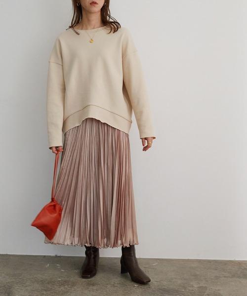 [ROPE'] シャンブレージョーゼットプリーツスカート