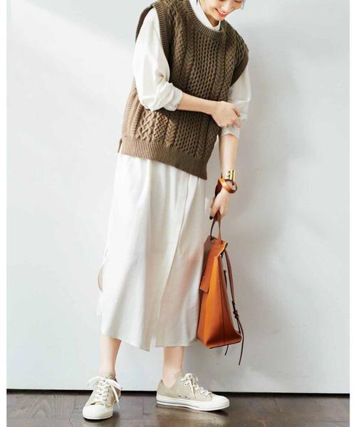 IEDIT 小森美穂子さんとコラボ オンするだけで旬顔 こだわり素材の編み柄ニットベスト