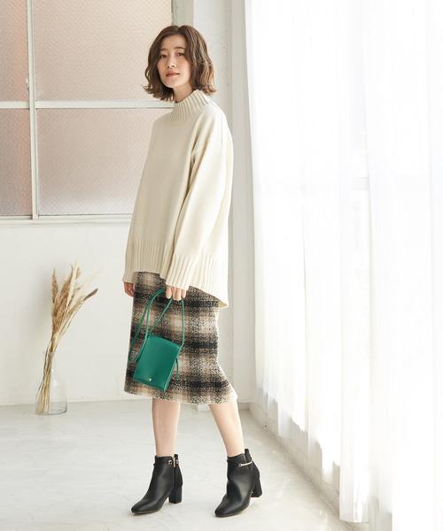 【WEB限定カラー:ベージュ】BIGチェックアイラインスカート